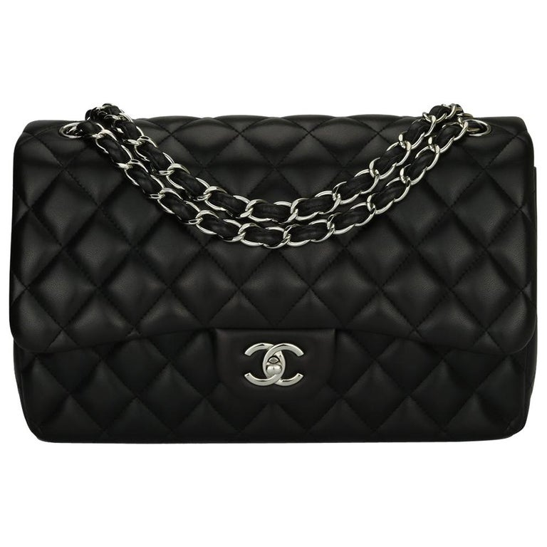 CHANEL Double Flap Jumbo Bag Black Lambskin with Silver Hardware 2013 For Sale