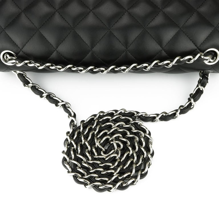 CHANEL Double Flap Jumbo Bag Black Lambskin with Silver Hardware 2015 For Sale 7