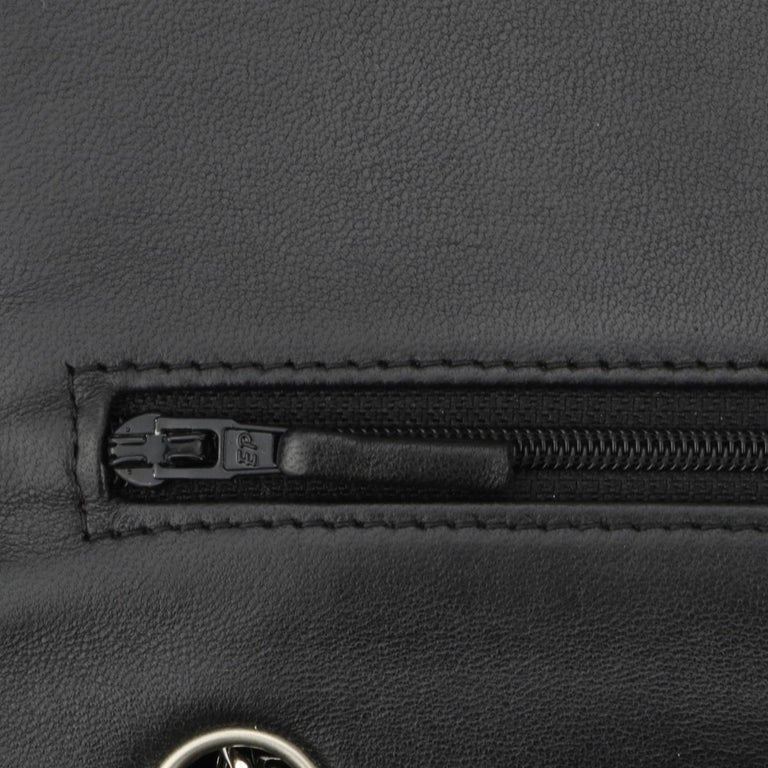 CHANEL Double Flap Jumbo Bag Black Lambskin with Silver Hardware 2015 For Sale 11