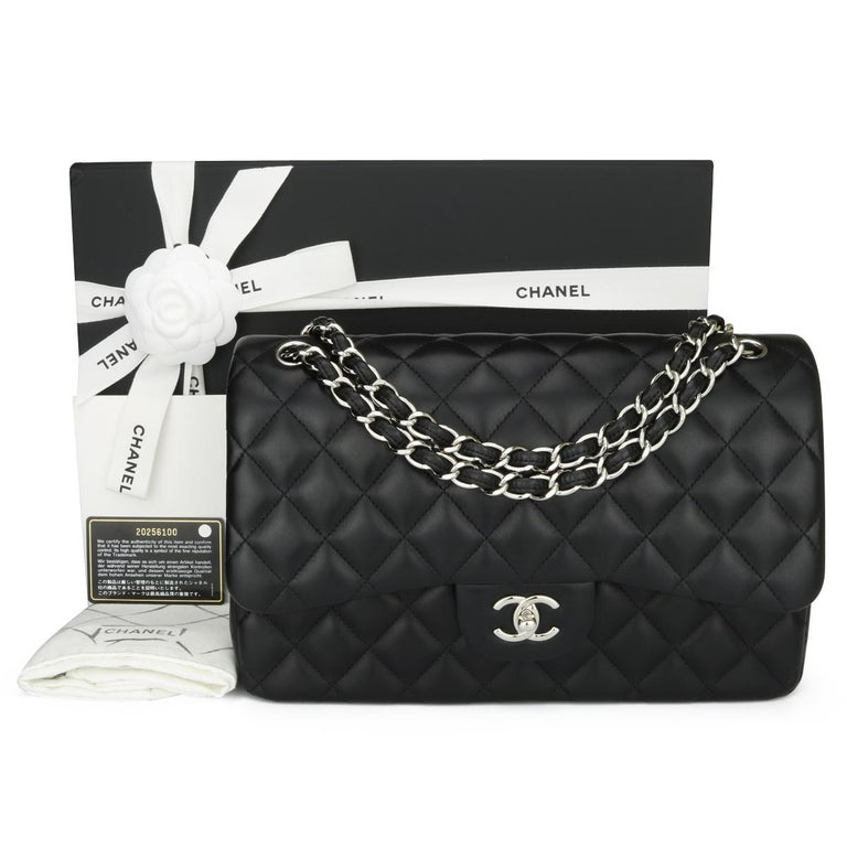 CHANEL Double Flap Jumbo Bag Black Lambskin with Silver Hardware 2015 For Sale 15