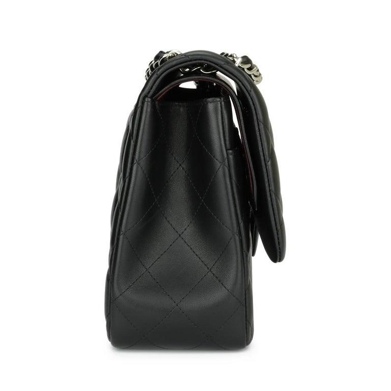 Women's or Men's CHANEL Double Flap Jumbo Bag Black Lambskin with Silver Hardware 2015 For Sale