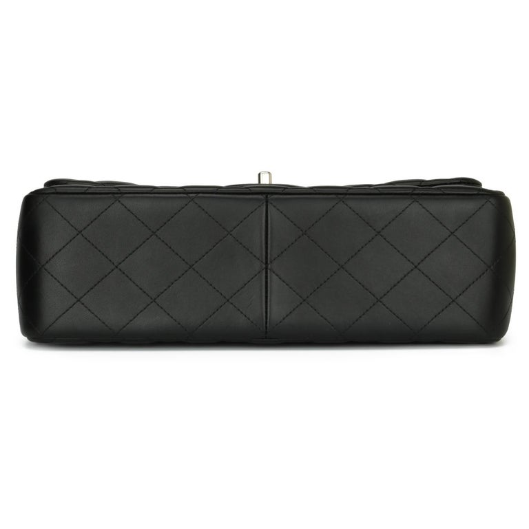 CHANEL Double Flap Jumbo Bag Black Lambskin with Silver Hardware 2015 For Sale 2