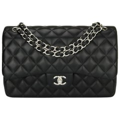 CHANEL Double Flap Jumbo Bag Black Lambskin with Silver Hardware 2015