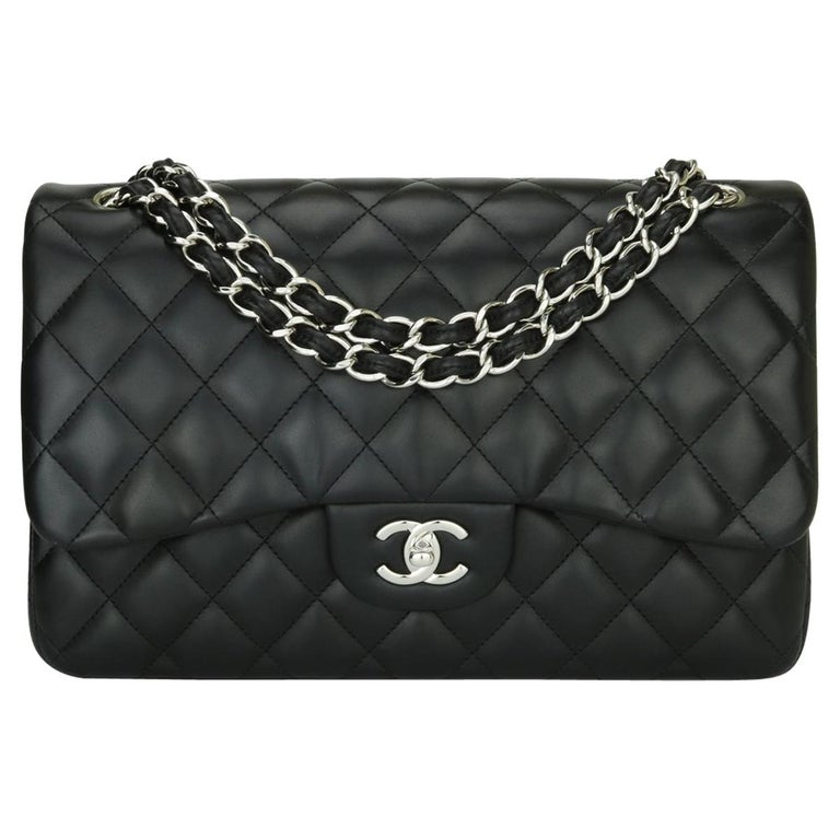 CHANEL Double Flap Jumbo Bag Black Lambskin with Silver Hardware 2015 For Sale