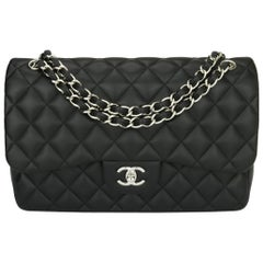 CHANEL Double Flap Jumbo Bag Black Lambskin with Silver Hardware 2016