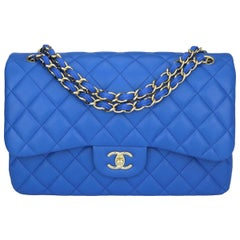 CHANEL Double Flap Jumbo Bag Blue Lambskin with Light Gold Hardware 2016