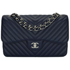 CHANEL Double Flap Jumbo Bag Chevron Navy Caviar with Silver Hardware 2017