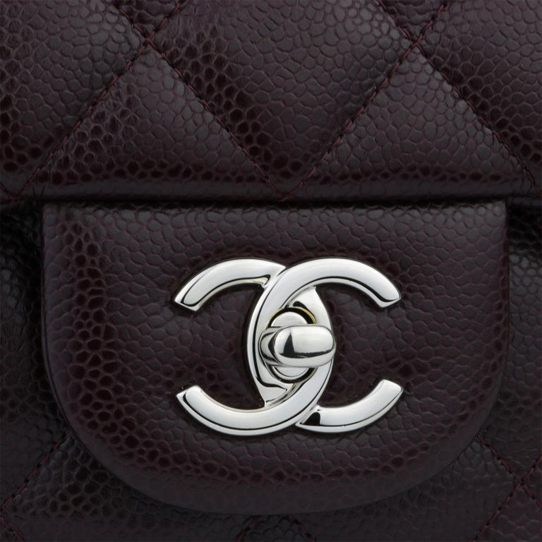 Black CHANEL Double Flap Jumbo Bag Dark Burgundy Caviar with Silver Hardware 2015 For Sale