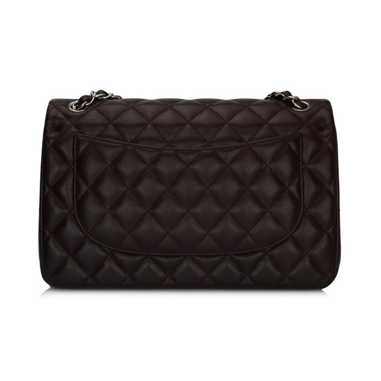 CHANEL Double Flap Jumbo Bag Dark Burgundy Caviar with Silver Hardware 2015 In New Condition For Sale In Huddersfield, GB