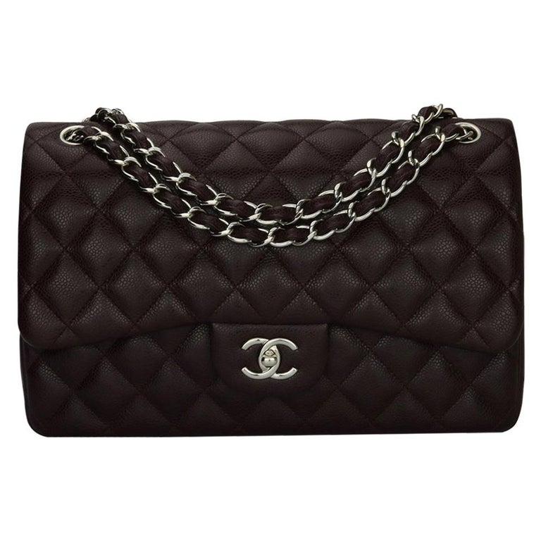 CHANEL Double Flap Jumbo Bag Dark Burgundy Caviar with Silver Hardware 2015 For Sale