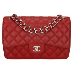 CHANEL Double Flap Jumbo Bag Red Lambskin with Silver Hardware 2013