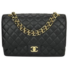 CHANEL Double Flap Maxi Bag Black Caviar with Gold Hardware 2011