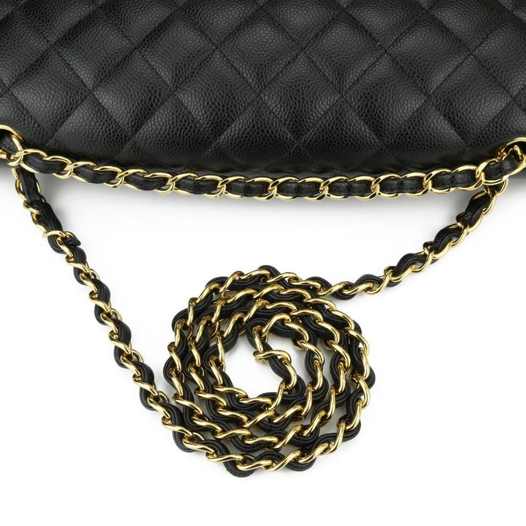 CHANEL Double Flap Maxi Bag Black Caviar with Gold Hardware 2018 8