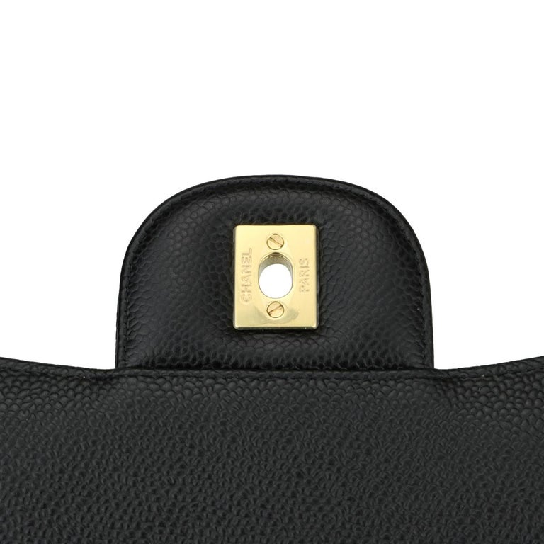 CHANEL Double Flap Maxi Bag Black Caviar with Gold Hardware 2018 10