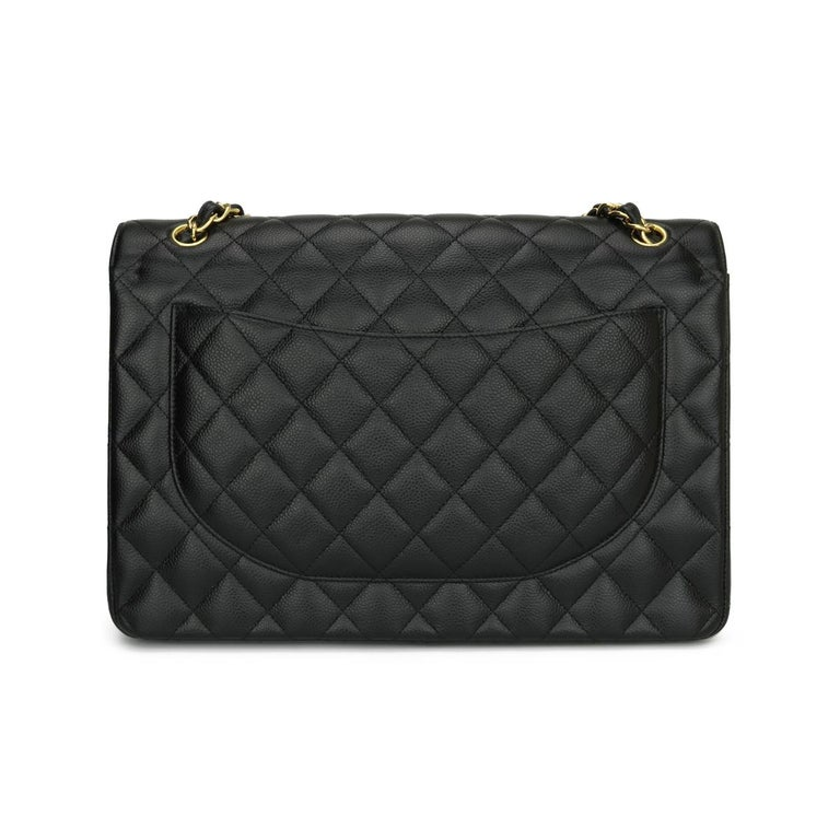 CHANEL Double Flap Maxi Bag Black Caviar with Gold Hardware 2018 In Excellent Condition In Huddersfield, GB