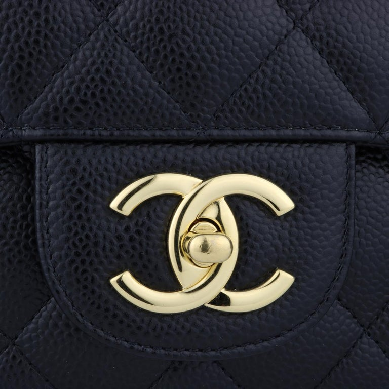 Women's or Men's CHANEL Double Flap Maxi Bag Black Caviar with Gold Hardware 2018