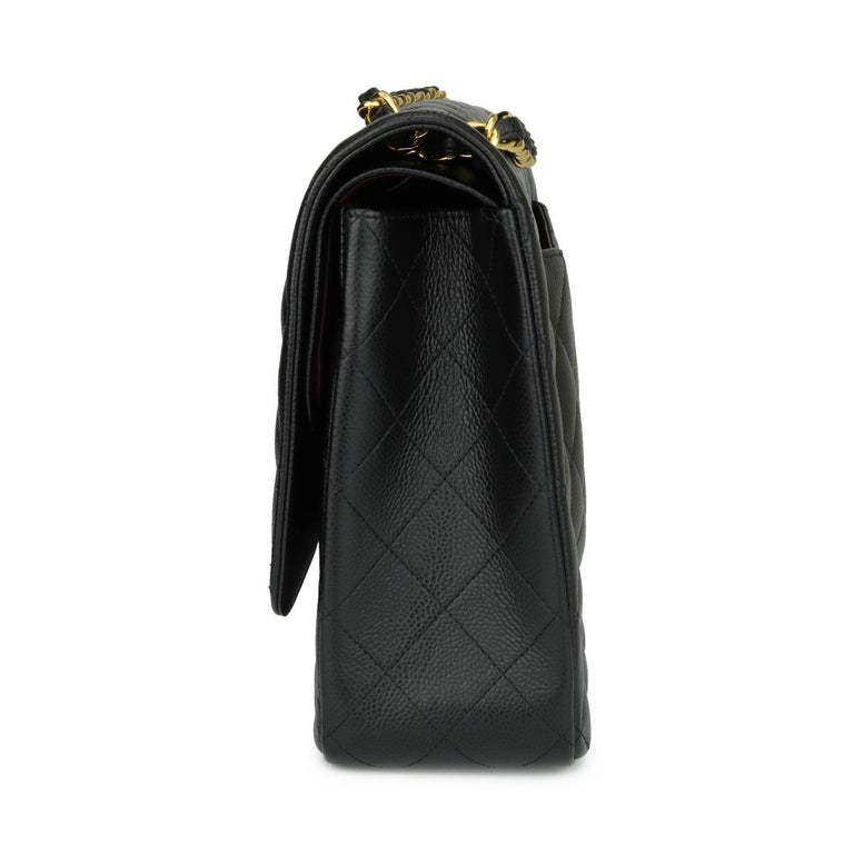 CHANEL Double Flap Maxi Bag Black Caviar with Gold Hardware 2018 1