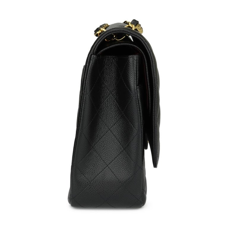 CHANEL Double Flap Maxi Bag Black Caviar with Gold Hardware 2018 2