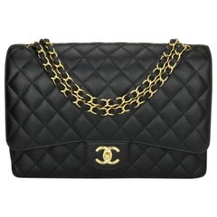 CHANEL Double Flap Maxi Bag Black Caviar with Gold Hardware 2018