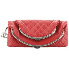 Chanel Double Kisslock Fold Over Clutch Quilted Leather Medium