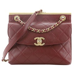Chanel Double Sided Metal Frame Flap Bag Quilted Calfskin Small