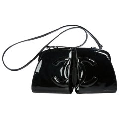 Chanel Double Split Frame Runway Black Patent Leather Cross Body Bag