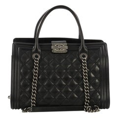 Chanel Double Stitch Boy Chain Tote Quilted Calfskin Large