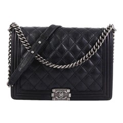 Chanel Double Stitch Boy Flap Bag Quilted Calfskin Large