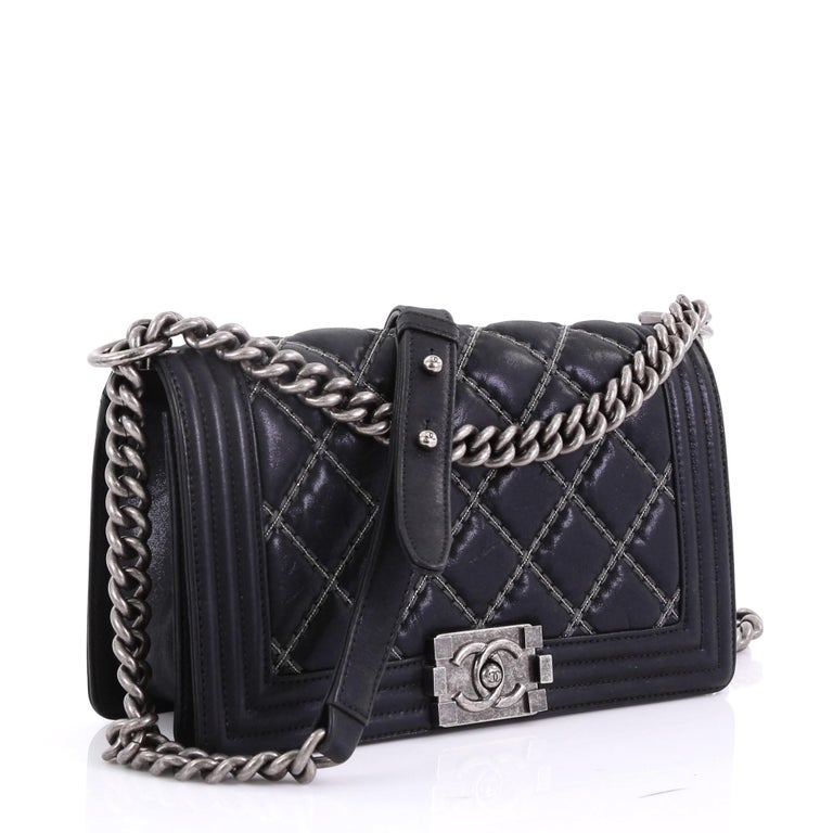 087d2abf8805 Black Chanel Double Stitch Boy Flap Bag Quilted Calfskin Old Medium For Sale