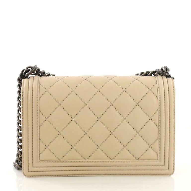 Beige Chanel Double Stitch Boy Flap Bag Quilted Calfskin Old Medium