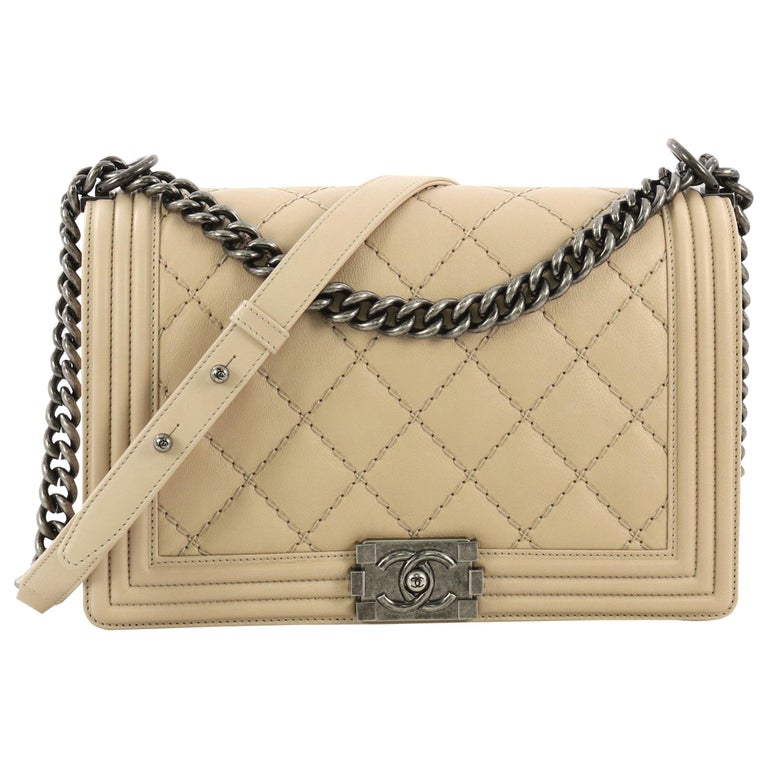 Chanel Double Stitch Boy Flap Bag Quilted Calfskin Old Medium 2