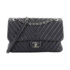Chanel Double Stitch Flap Bag Chevron Lambskin Jumbo