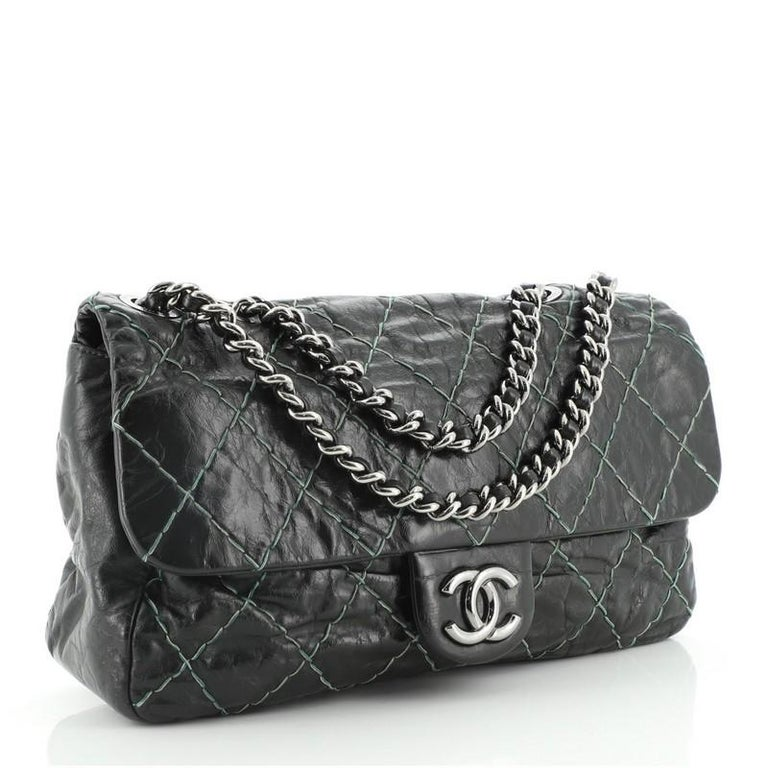 Black Chanel Double Stitch Flap Bag Quilted Glazed Calfskin Medium For Sale