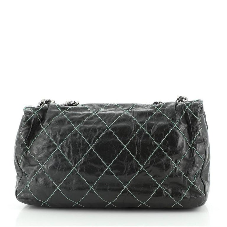 Chanel Double Stitch Flap Bag Quilted Glazed Calfskin Medium In Good Condition For Sale In New York, NY
