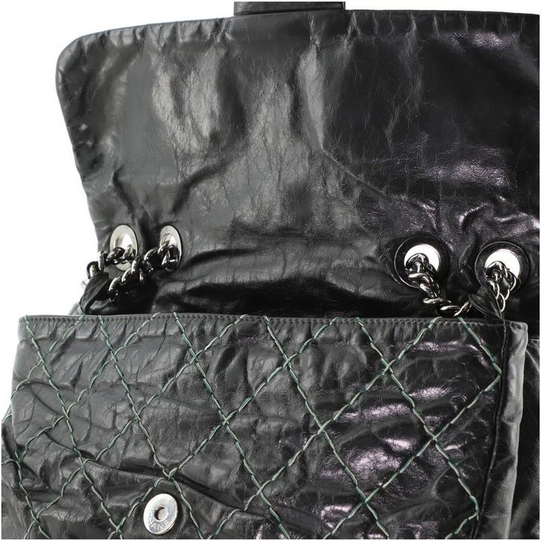 Chanel Double Stitch Flap Bag Quilted Glazed Calfskin Medium For Sale 2