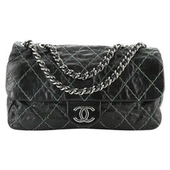 Chanel Double Stitch Flap Bag Quilted Glazed Calfskin Medium