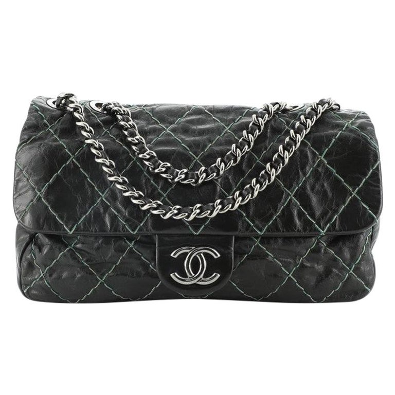 Chanel Double Stitch Flap Bag Quilted Glazed Calfskin Medium For Sale