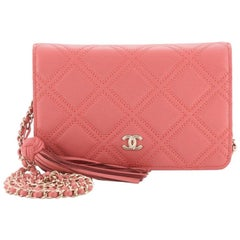 Chanel Double Stitch Tassel Wallet on Chain Quilted Lambskin