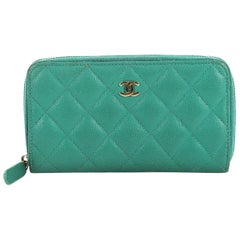 Chanel Double Zip Around Wallet Quilted Caviar Small