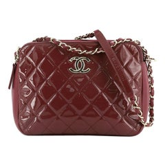 Chanel Double Zip Camera Bag Quilted Patent and Calfskin Medium
