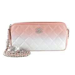 Chanel Double Zip Clutch with Chain Bag Ombre Quilted Calfskin