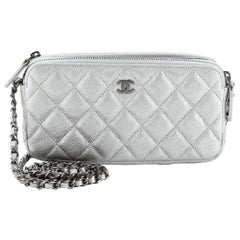 Chanel Double Zip Clutch with Chain Quilted Caviar