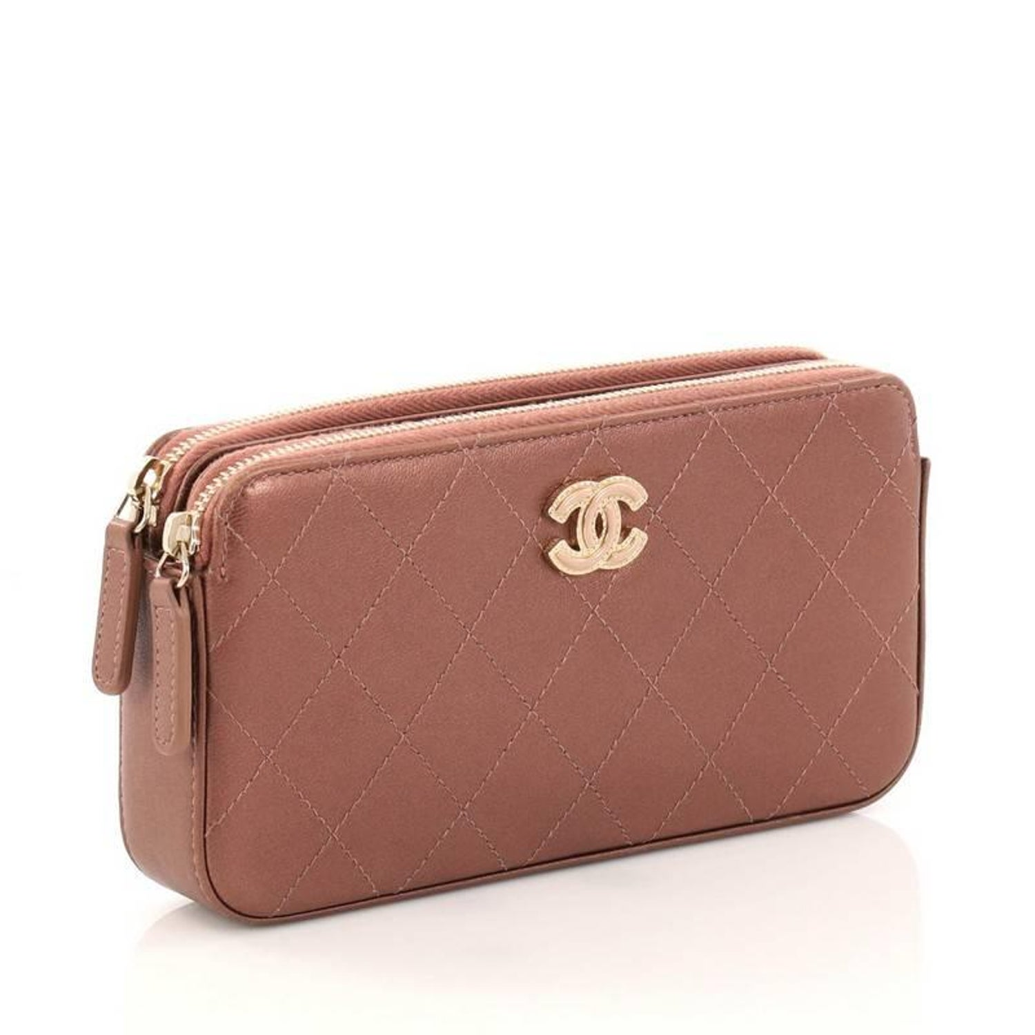 570f3ce63002 Chanel Double Zip Clutch with Chain Quilted Lambskin at 1stdibs