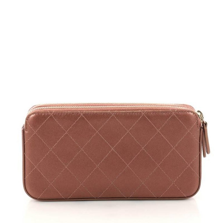 00622c355957 Chanel Double Zip Clutch with Chain Quilted Lambskin In Good Condition For  Sale In New York