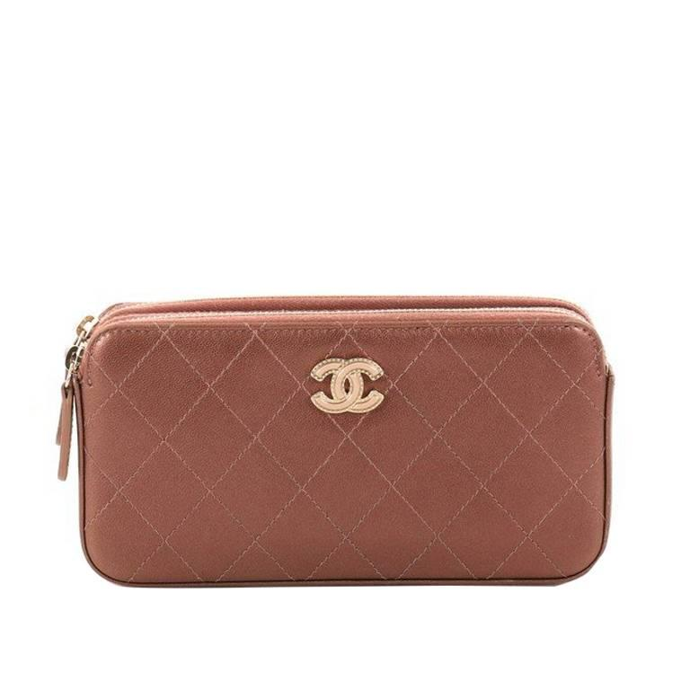 d0a792fad1ba Chanel Double Zip Clutch with Chain Quilted Lambskin at 1stdibs