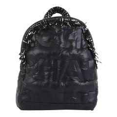 Chanel Doudoune Backpack Embossed Nylon with Tweed Medium