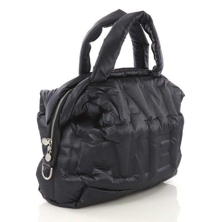 fc0d5c187241 Black Chanel Doudoune Bowling Bag Embossed Nylon Large For Sale