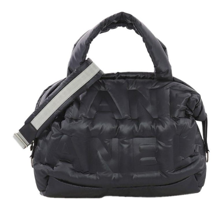 7f4ec85cdd08 Chanel Doudoune Bowling Bag Embossed Nylon Large For Sale at 1stdibs