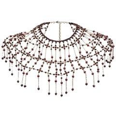 Chanel Dramatic Dark Red Gripoix Collar Necklace