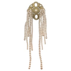Chanel Dramatic & Large Medallion with Pearl Fringe Pin, 2015 Collection